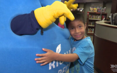 Vouchers for Free Rolls of Blue Bags handed out at Richardson Public Library
