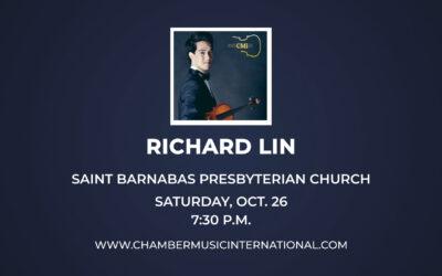 Chamber Music International Features Violin Gold Medalist Oct. 26