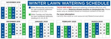 Winter Water Schedule Has Begun