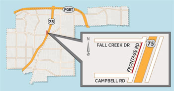 Lane Closure Expected on US 75 Frontage Road North of Campbell Road
