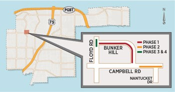 Water Main Improvement Project to Close Lanes on Campbell Road, Floyd Road and Bunker Hill